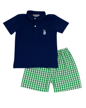 Load image into Gallery viewer, Golf Embroidered Green Checked Shorts with Navy Polo