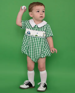 Golf Smocked Green Checked Boy Bubble