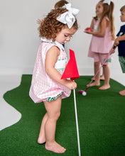 Load image into Gallery viewer, Golf Smocked Pink Checked Bubble with Bow Detail