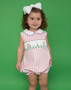 Golf Smocked Pink Checked Bubble with Bow Detail