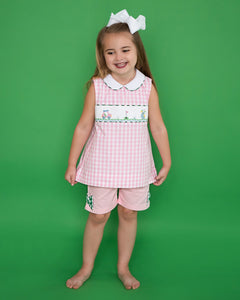 Golf Smocked Pink Checked Shorts Set with Bow Detail