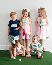 Load image into Gallery viewer, Golf Smocked Pink Checked Shorts Set with Bow Detail