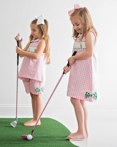 Golf Smocked Pink Checked Dress with Bow Detail
