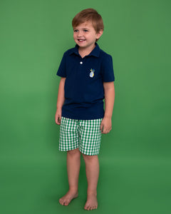 Golf Embroidered Green Checked Shorts with Navy Polo