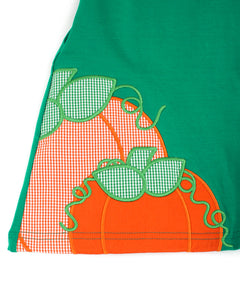 Pumpkin Applique Green Knit Dress