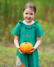 Load image into Gallery viewer, Pumpkin Applique Green Knit Dress