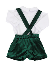 Load image into Gallery viewer, Green Velvet Shorts with Suspenders and White Peter Pan Shirt
