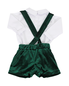 Green Velvet Shorts with Suspenders and White Peter Pan Shirt
