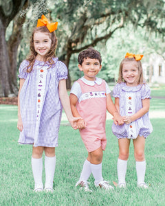 Halloween Fun Embroidered Gingham Shortall