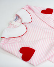 Load image into Gallery viewer, Heart Applique Pink Striped Knit Legging Set