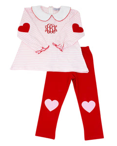 Heart Applique Pink Striped Knit Legging Set
