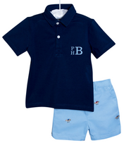 Load image into Gallery viewer, Jockey Embroidered Blue Shorts Set