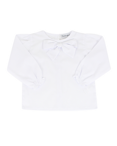Bow Blouse in White with Long Sleeves
