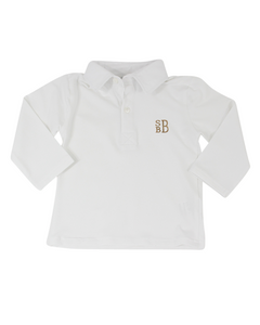 Plain White Polo Shirt with Long Sleeves