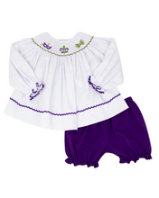 Load image into Gallery viewer, Mardi Gras Mask Smocked Top with Purple Knit Bloomers