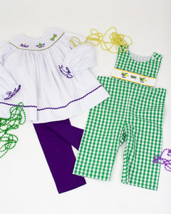 Mardi Gras Mask Smocked Top with Purple Knit Leggings