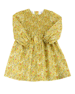 Marigold Floral Dress with Shirring