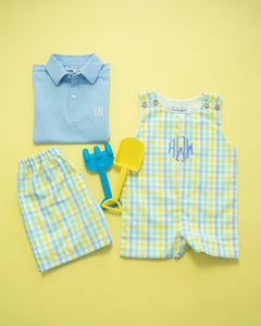 Mint Blue and Yellow Checked Shorts Set with Polo Shirt