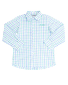 Baby Blue and Mint Check Button Down Shirt