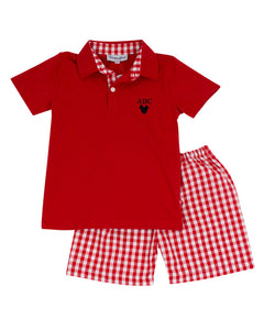 Mouse Embroidered Polo with Red Checked Shorts