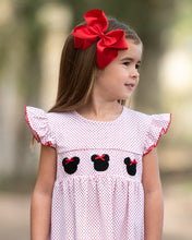 Load image into Gallery viewer, Mouse With Red Bow Smocked Polka Dot Knit Dress