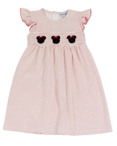 Mouse With Red Bow Smocked Polka Dot Knit Dress