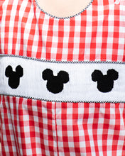 Load image into Gallery viewer, Mouse Smocked Red Checked Shortall