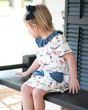 Load image into Gallery viewer, Nantucket Nautical Pima Cotton Dress With Navy Trim
