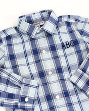 Load image into Gallery viewer, Navy and Blue Plaid Button Down Shirt