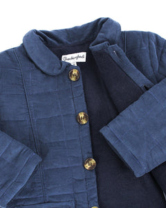 Navy Quilted Corduroy Coat