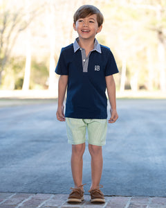 Green Seersucker Shorts Set with Navy Polo