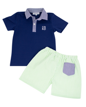Load image into Gallery viewer, Green Seersucker Shorts Set with Navy Polo
