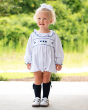Load image into Gallery viewer, Navy Polka Dot Knit Smocked Long Sleeved Bubble