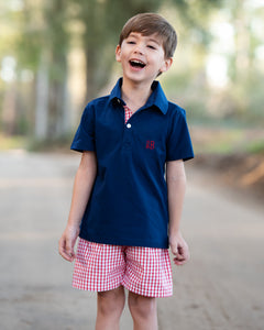 Red Windowpane Shorts Set with Navy Shirt