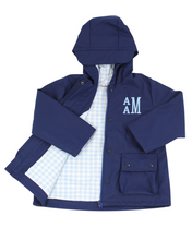 Load image into Gallery viewer, Navy Raincoat With Blue Check Lining