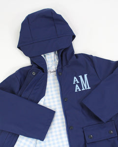 Navy Raincoat With Blue Check Lining