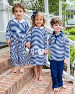 Navy Striped Pants Set