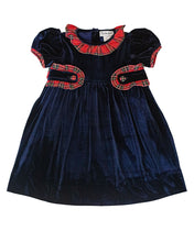 Load image into Gallery viewer, Navy Velvet Dress with Sash