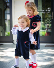 Load image into Gallery viewer, Navy Velvet Shortall with Peter Pan Collar Shirt