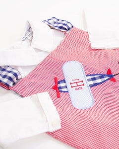 Airplane Applique Red Gingham Longall