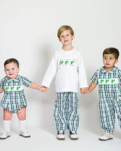 Load image into Gallery viewer, Shamrocks Smocked Plaid Pants Set
