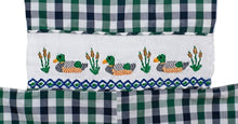 Load image into Gallery viewer, Ducks Smocked Blue And Green Plaid Longall