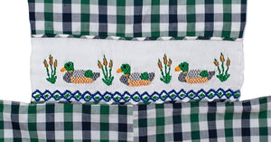 Ducks Smocked Blue And Green Plaid Longall