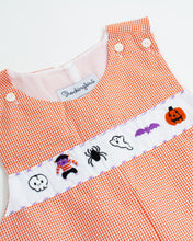 Load image into Gallery viewer, Halloween Fun Embroidered Gingham Shortall