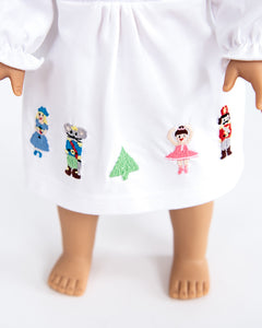 Nutcracker Embroidered Knit Nightgown For Doll