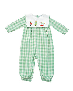 Nutcracker Hand Embroidered Green Checked Longall
