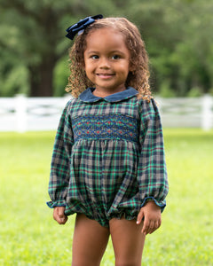 Parker Plaid Smocked Bubble With Sash