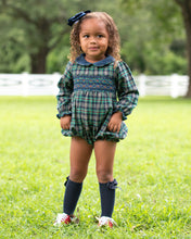 Load image into Gallery viewer, Parker Plaid Smocked Bubble With Sash