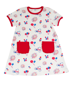 Patriotic Pima Girl Dress with Red Trim