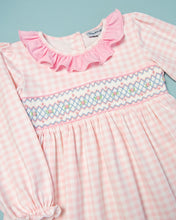 Load image into Gallery viewer, Pink Gingham Knit Smocked Long Sleeved Dress
